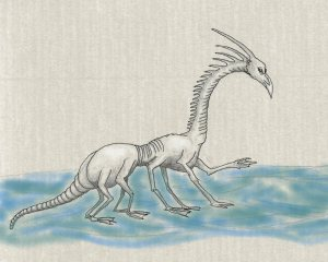 This is a drawing pretty much as Phil drew it in my sketchbook. I scanned the original pencil drawing and went over it to outline the creature and added a little shading. I also added the rear back legs that Phil didn't include in the original sketch. I don't recall that he  told us the name of the creature. Maybe someone else who was there that night remembers.