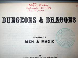 OD&D Men & Magic inside cover with Prof. Barker's signature
