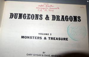 OD&D Monsters & Treasure inside cover with Prof. Barker's signature