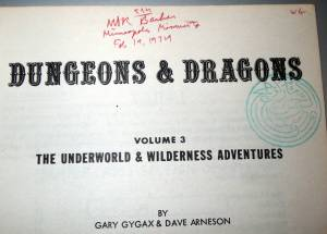 OD&D Underworld and Wilderness Adventures inside cover with Prof. Barker's signature